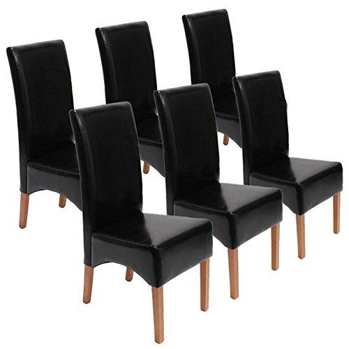 Mendler 6x Esszimmerstuhl Lehnstuhl Stuhl Latina, LEDER ~ schwarz,helle Beine