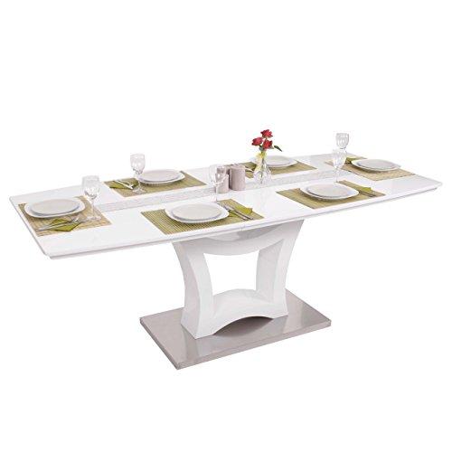 Mendler-Esstisch-HWC-B48-Esszimmertisch-Tisch-Ausziehbar-Hochglanz-Edelstahl-160-205x90cm-0