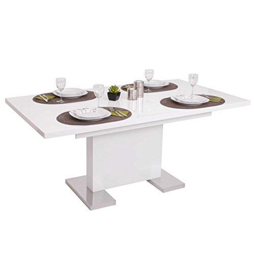 Mendler-Esstisch-HWC-B49-Esszimmertisch-Tisch-Ausziehbar-Hochglanz-Edelstahl-120-160x90cm-0