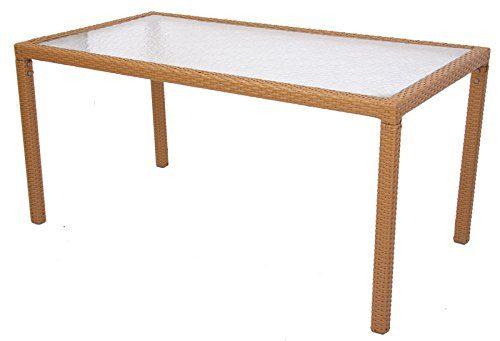 Mendler-Esszimmertisch-Gartentisch-ROM-Poly-Rattan-150x80cm-sand-0