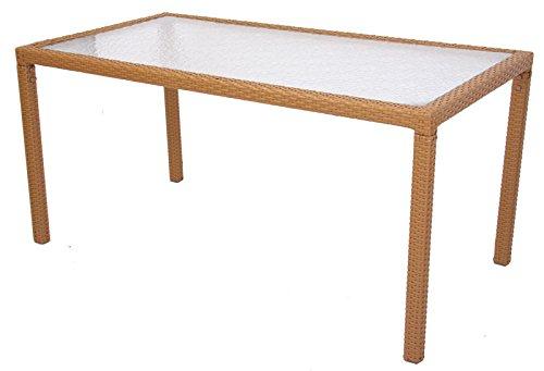 Mendler Esszimmertisch Gartentisch ROM, Poly-Rattan ~ 150x80cm, sand