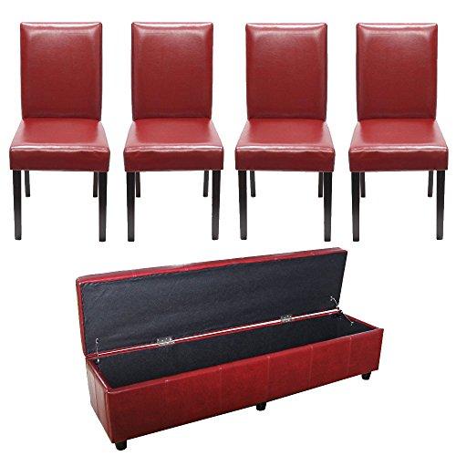 Mendler-Garnitur-Sitzgruppe-Bank-mit-Aufbewahrung-Kriens-XXL4-Sthle-Littau-KunstlederLeder-rot-0