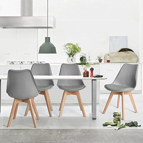 Naturelifestore 4er Set Esszimmerstühle mit Massivholz Buche Bein, Retro Design Gepolsterter lStuhl Küchenstuhl Holz