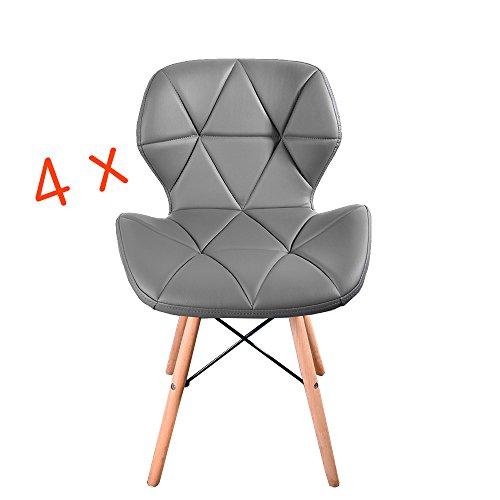 Panana Stuhl im Eiffel-Stil, aus Holz, für Esszimmer, Holzbeine und mit bequem gepolsterter Sitzfläche, grau, 4 Stück