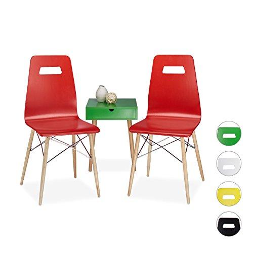 Relaxdays Design Stuhl 2-er Set ARVID, Holz, Esszimmer-Stuhl, modern, HxBxT: 92 x 43 x 40 cm, Retro