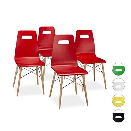 Relaxdays Design Stuhl 4-er Set ARVID, Holz, Esszimmer-Stuhl, modern, HxBxT: 92 x 43 x 40 cm, Retro