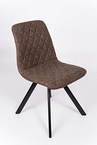 SAM® Esszimmerstuhl Spider, Kunstlederbezug in Braun, abgestepptes Design, schwarz lackierte Beine aus Metall, bequeme Polsterung, pflegeleichter Stuhl
