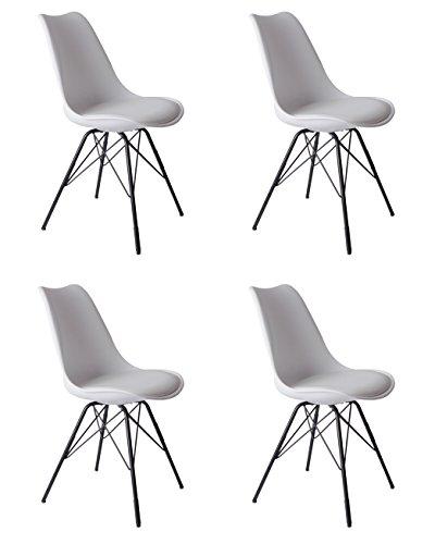 SAM Schalenstuhl, integriertes Kunstleder-Sitzkissen, Esszimmerstuhl im skandinavischen Stil