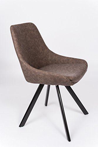 SAM® Stilvoller Armlehnstuhl Amelie, Kunstlederbezug in Braun, abgestepptes Design, schwarze Beine aus Metall, bequemer Sitzkomfort, Esszimmer-Stuhl