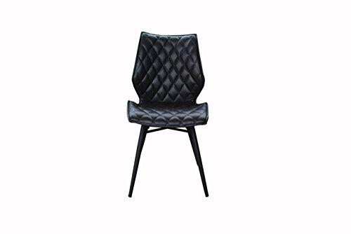 SAM® Stilvoller Esszimmerstuhl Stockholm, Stuhl in gestepptem Design, Polsterstuhl mit massiven Beinen aus schwarzem Metall, Unikat für Ihr Wohnzimmer, Esszimmer, Küche