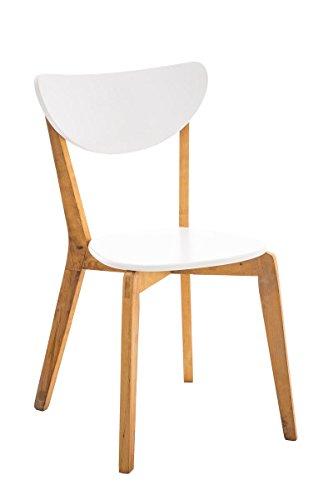 SIKALO Küchenstuhl aus Holz natura weiß lackiert im skandinavischen Design, Esszimmer-Stuhl modern mit Lehne - Besucherstuhl Wartezimmer Sitzmöbel