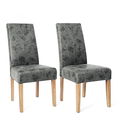 SONGMICS 2er-Set Esszimmerstuhl, Küchenstuhl mit Wildlederoptik, Polsterstuhl mit hoher Rückenlehne und PU-Bezug, Beine aus Massivholz, dunkelgrau, LDC41G