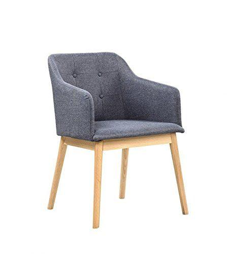 SalesFever® Stilvoller Armlehnstuhl Ando in Anthrazit, Designer-Stuhl mit Stoffbezug, gepolstert, Füße aus Eichenholz, Retro-Look, sesselförmiger Sitz, bequemer Sitzkomfort