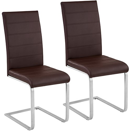 TecTake Esszimmerstühle Schwingstuhl Set | Kunstleder - diverse Farben -