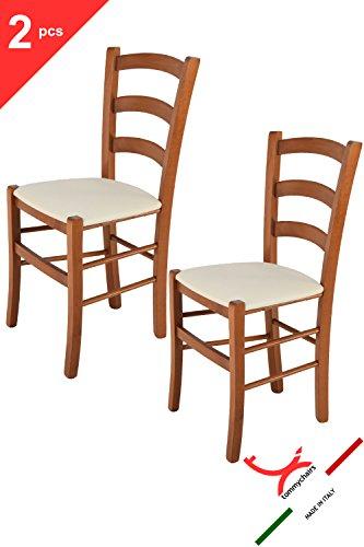 Tommychairs - 2er Set Stühle VENICE für Küche und Esszimmer robuste Struktur aus lackiertem Buchenholz im Farbton Kirschholz und gepolsterte Sitzfläche mit STOFF in der Farbe Elfenbein bezogen. Set bestehend aus 2 Stühlen Venice