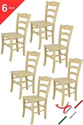 Tommychairs 6er Set: Stühle für Küche und Esszimmer robuste Struktur aus Buchenholz, in Anilinfarbe Elfenbein und Sitzfläche aus Holz. Set bestehend aus 6 Stuhlen Cuore 38 Farbton Elfenbein