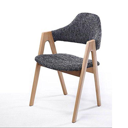 WANGYU Essstuhl Grau 52 * 44 * 80cm Massivholz Armlehne Einfache Studie Stuhl Rückenlehne Stuhl