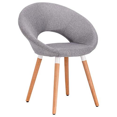 WOLTU 1 Stück Esszimmerstuhl Küchenstuhl Wohnzimmerstuhl Design Stuhl Retro Stuhl Polsterstuhl mit Rückenlehne Leinen Massivholz #887