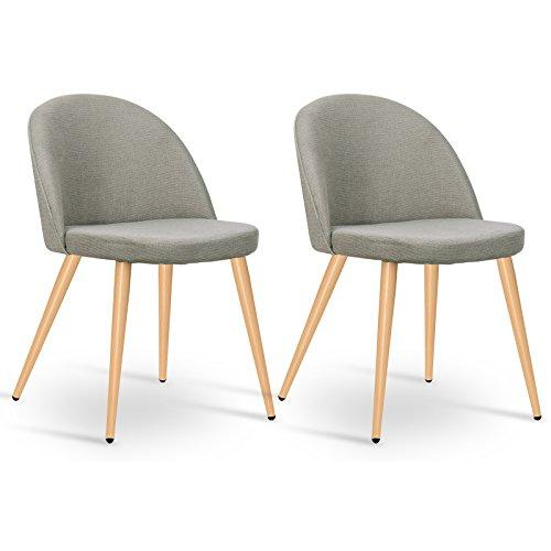 WOLTU 2er Set Esszimmerstühle Küchenstühle Polsterstuhl Wohnzimmerstuhl Design Stuhl, Sitzfläche aus Leinen, Beine aus Metall in Holzoptik, Grau, BH80gr-2