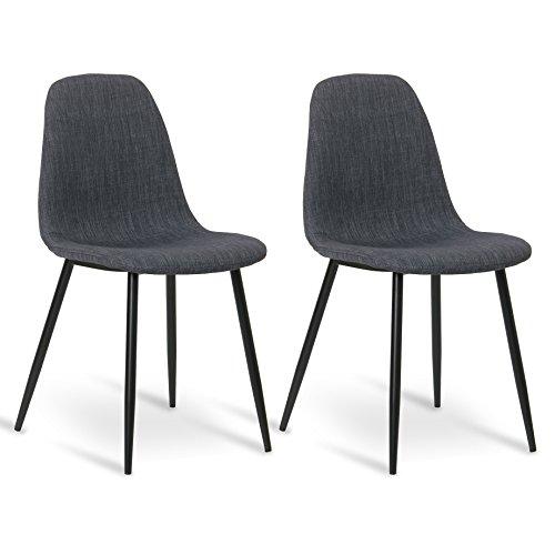 WOLTU® 2er Set Esszimmerstühle Küchenstühle Polsterstuhl Wohnzimmerstuhl, Sitzfläche aus Leinen, Metallgestelle, Retro Design, #898