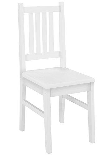 Weißer Stuhl Eris Küchenstuhl Massivholzstuhl Esszimmerstuhl Kiefer 90.71-01 W