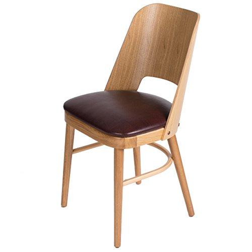 treesure Esszimmerstuhl C, Eiche Massivholz, Bezug Kunstleder, Küchenstuhl, Lounge Stuhl, Designerstuhl