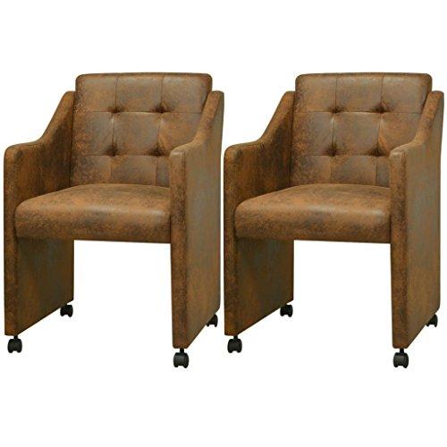 vidaXL 2/4/6x Esszimmerstuhl Stühle Küchenstuhl mit Rollen Stuhlgruppe Design