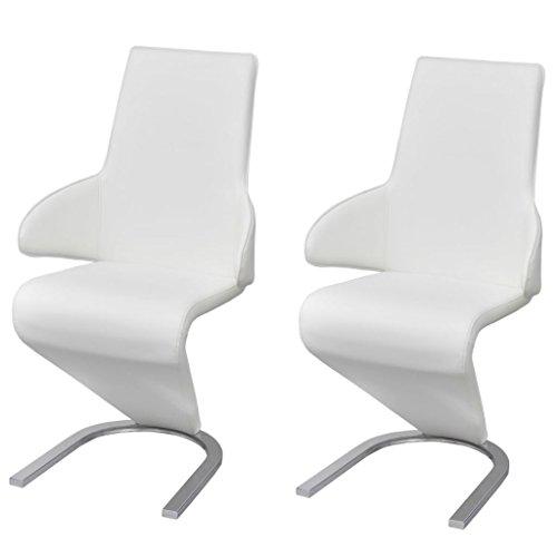 vidaXL 2x Esszimmerstuhl Kunstleder Weiß Freischwinger Schwingstuhl Stuhl