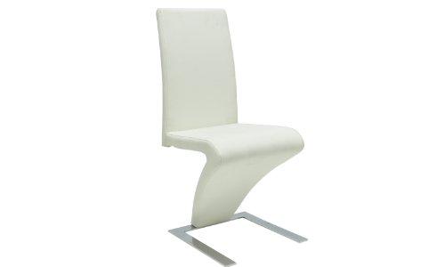 vidaXL 2x Esszimmerstuhl Zickzack-Form Weiß Stuhlgruppe Essstuhl Küchenstuhl