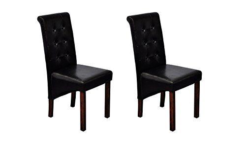 vidaXL-2x-Stuhl-Kunstleder-Schwarz-Esszimmerstuhl-Hochlehner-Kchenstuhl-0