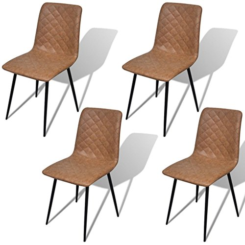 vidaXL-4x-Esszimmerstuhl-Kunstleder-Braun-Kchenstuhl-Lehnstuhl-Essstuhl-Stuhl-0