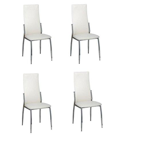 vidaXL 4x Esszimmerstuhl Kunstleder Weiß Stuhlgruppe Essstuhl Küchenstuhl