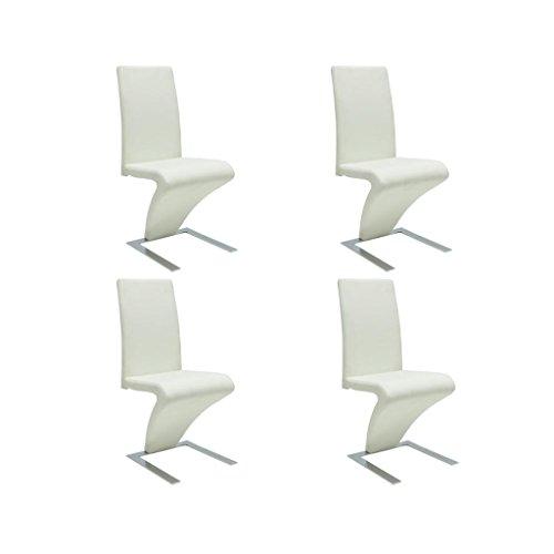 vidaXL 4x Esszimmerstuhl Kunstleder Weiß Stuhlgruppe Küchenstuhl Essstuhl