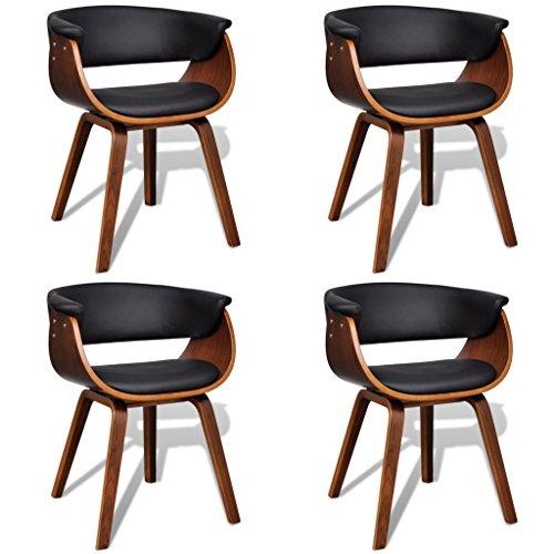 vidaXL 4x Esszimmerstuhl mit Holzrahmen Kunstleder Küchenstuhl Essstuhl Stuhl