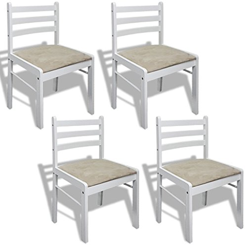 vidaXL 4x Holzstuhl Holz Weiß Viereckig Esszimmerstuhl Küchenstuhl Essstuhl