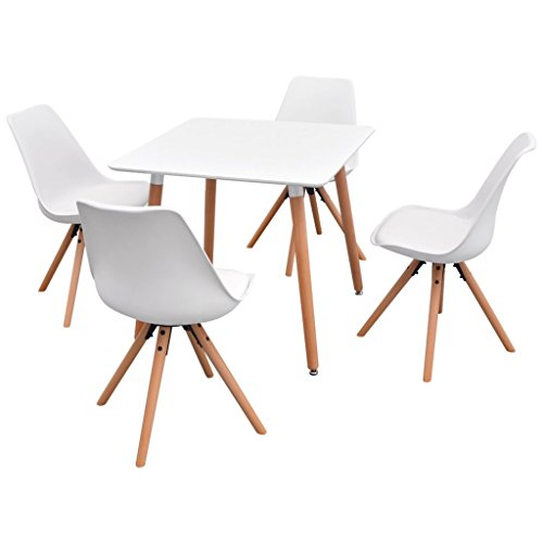vidaXL 5-tlg. Essgruppe Tischset Esszimmer Stühle Sitzgruppe Esstischset Weiß