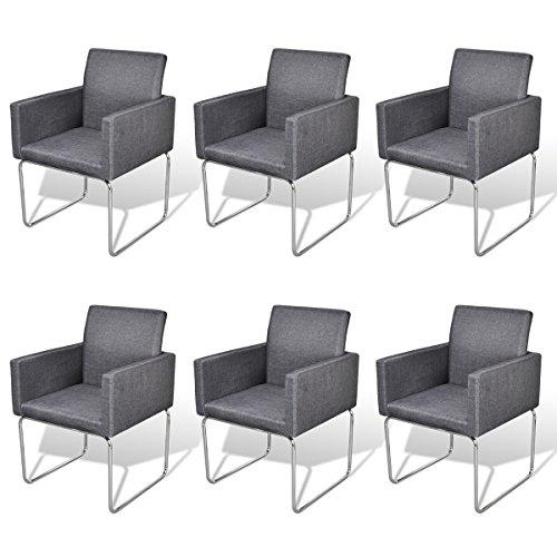 vidaXL 6x Esszimmerstuhl Dunkelgrau Stuhl Polsterstuhl Stuhlgruppe Küchenstuhl