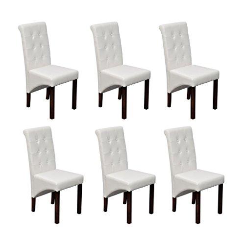 vidaXL 6x Esszimmerstuhl Klassik Weiß Stuhlgruppe Hochlehner Küchenstuhl Stuhl