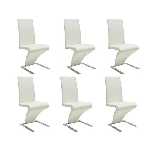 vidaXL 6x Esszimmerstuhl Kunstleder Weiß Stuhlgruppe Küchenstuhl Essstuhl