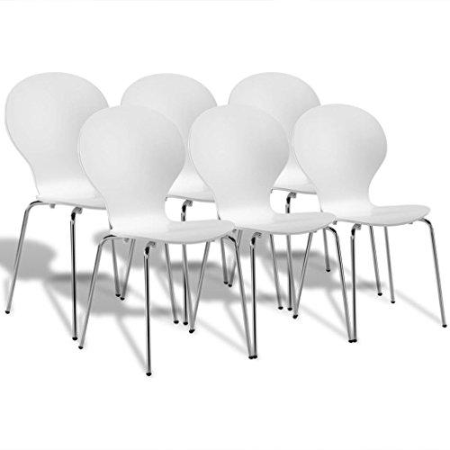 vidaXL 6x Esszimmerstuhl Stapelbar Weiß Küchenstuhl Stapelstuhl Essstuhl Stuhl