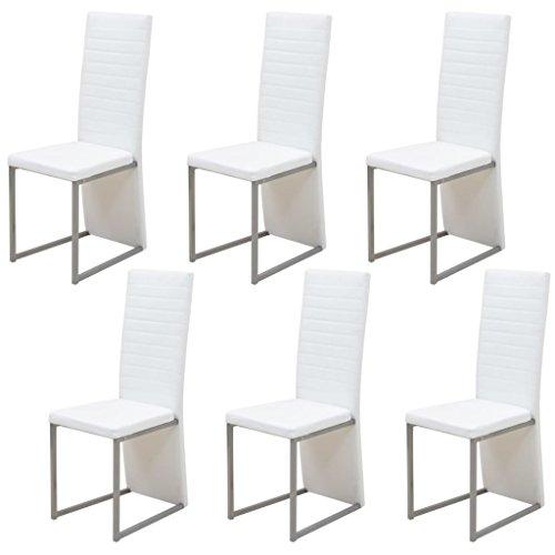 vidaXL 6x Esszimmerstuhl Weiß Essstuhl Hochlehner Stuhlgruppe Küchenstuhl