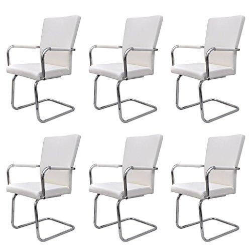 vidaXL 6x Esszimmerstuhl Weiß Kunstleder Essstuhl Stuhlgruppe Küchenstuhl