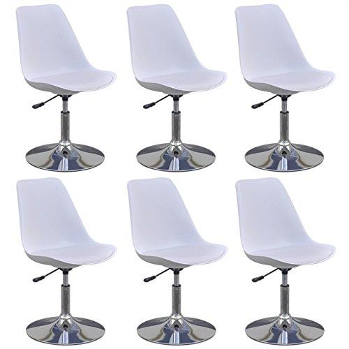 vidaXL 6x Küchenstuhl Höhenverstellbar Weiß Drehstuhl Esszimmerstuhl Essstuhl