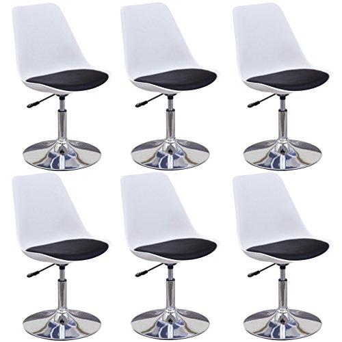 vidaXL 6x Küchenstuhl Höhenverstellbar Weiß/Schwarz Esszimmerstuhl Drehstuhl