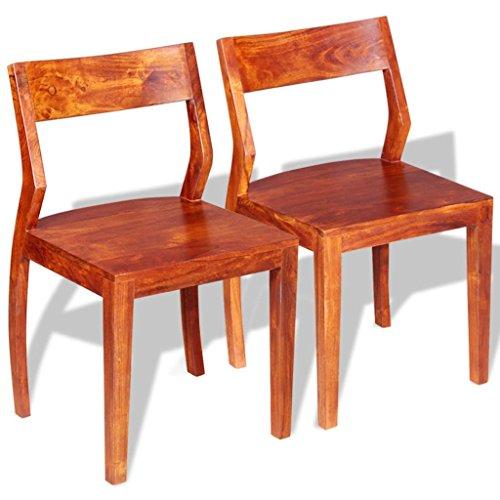 vidaXL Esszimmerstühle Küchenstuhl Stuhl 2 Stk. Massives Akazienholz Sheesham