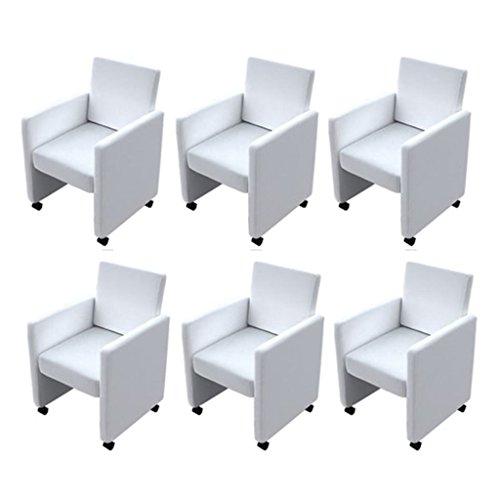vidaXL Esszimmerstuhl-Set 6 Stk. Weiß