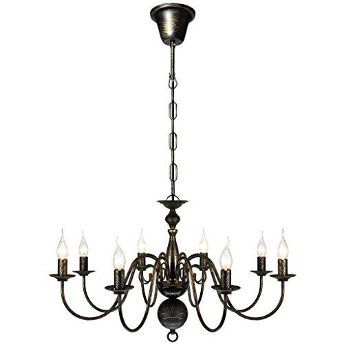 vidaXL Metall Kronleuchter Pendelleuchte Deckenleuchte Lüster Lampe Antik 8-flammig