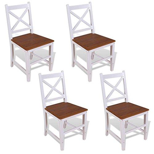 vidaXL Teak Massivholz 4x Esszimmerstuhl Mahagoni Wohnzimmerstuhl Stuhl Set