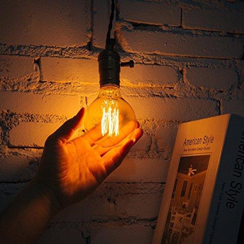 Vintage Edison Glühbirne, NUODIFAN 3 x E27 40W Retro Birne Squirrel Cage Stil Filament Lampe Amber Glas Dimmbar (180 Lumens, 2200K) Ideal für Antike Nostalgie und Dekorative Beleuchtung Modell G80 φ80mm
