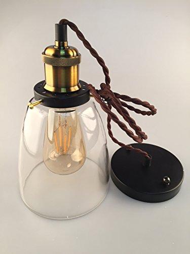 Ashley Brandon Licht Kypo Design Industrielle Vintage LED Pendelleuchte Hängeleuchte inkl. Edison LED Glühlampe 4W A++ Bronze